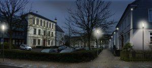 Am kommenden Samstagabend, 3. September 2016, findet in der Hansestadt Attendorn eine Probebeleuchtung an mehreren Gebäuden (hier: Klosterplatz) statt. © Büro Licht Raum Stadt Planung, Wuppertal